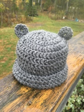 Crochet baby bear hat